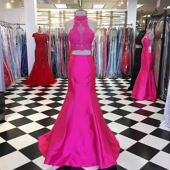 Pink Prom Dress,Mermaid Dress,Two Piece Prom Dress, 2 Piece Prom Dresses
