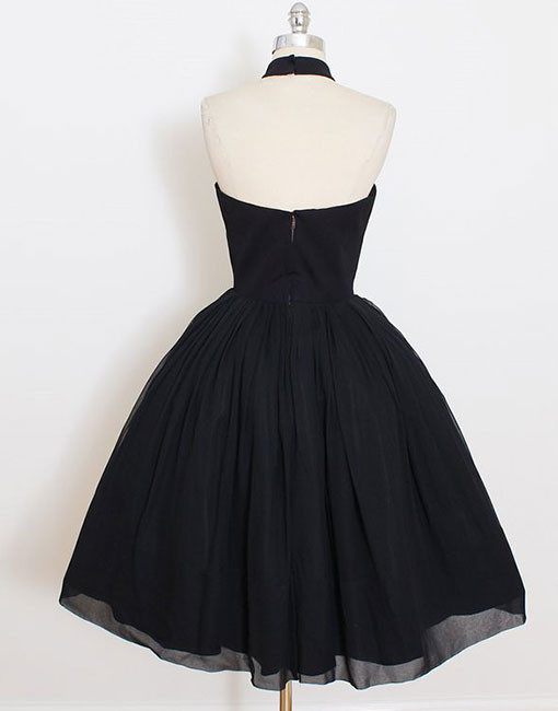 Cute A-Line High Neck Black Short Homecoming/Prom Dress H8629