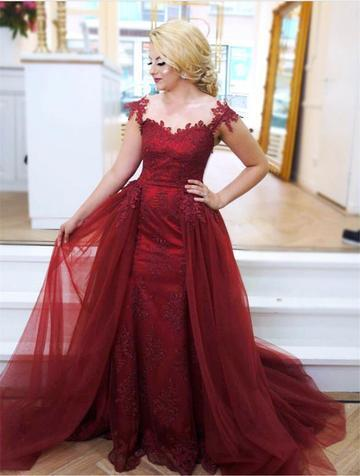 Formal Evening Party Dress, Burgundy Cap Sleeve Mermaid Evening Gown with