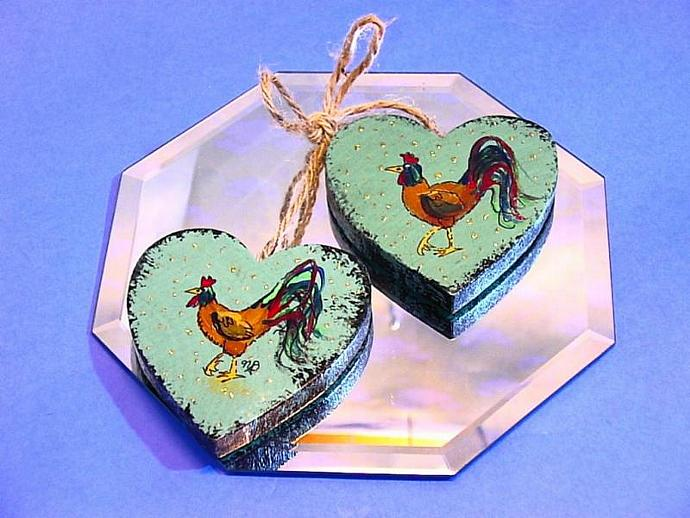 Country Shabby Chic painted rooster ornament double heart