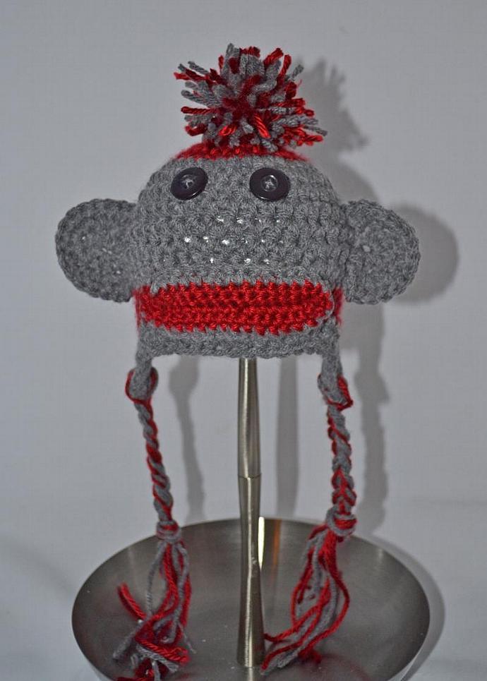 Crochet Sock Monkey Hat Newborn By Sweetbabiesinyarn On Zibbet