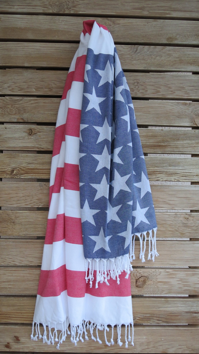 American Flag, jacquard, double faced 100% High Quality Turkish Cotton, Hand