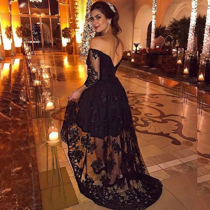 Sexy Black High Low Off the Shoulder Prom Dresses Three Quarter Sleeve Lace
