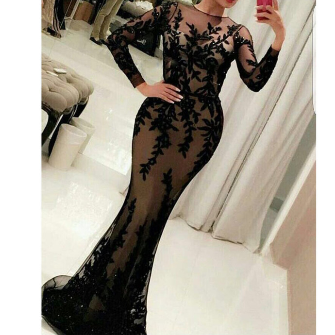 New Arrival Black Mermaid Lace Appliques Formal Evening Dresses O Neck Long