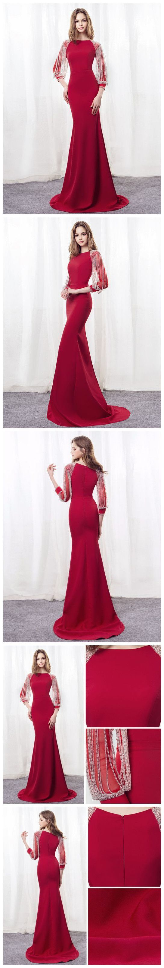 Simple Prom Dresses,Red Prom Gown,Vintage Prom Gowns,Elegant Evening Dress,Cheap