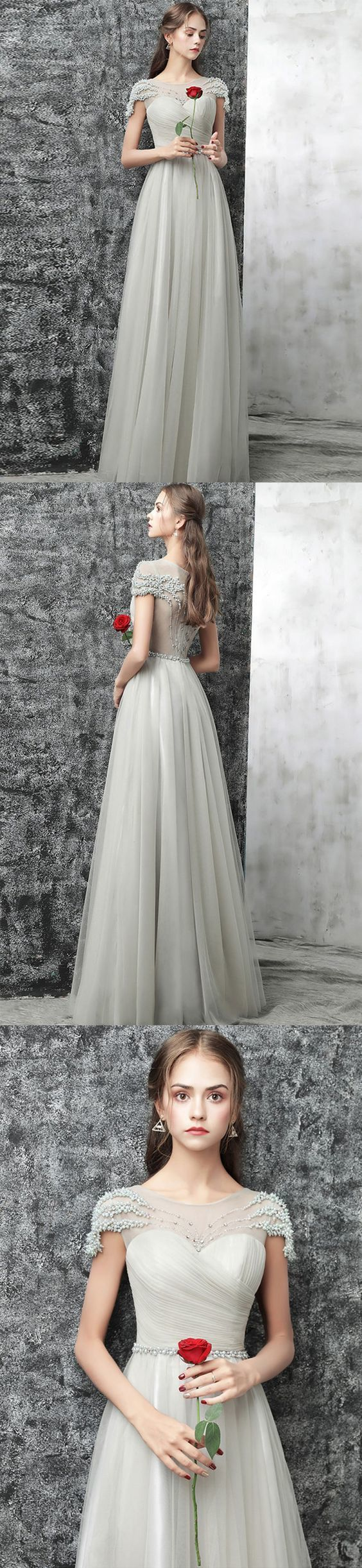 Cheap Prom Dress A-line Simple Floor-length Beading Long Prom Dress/Evening