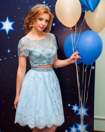 Light Blue Two Pieces Short Prom Dress