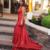 V Neck Red Sequin Prom Dress with Slit
