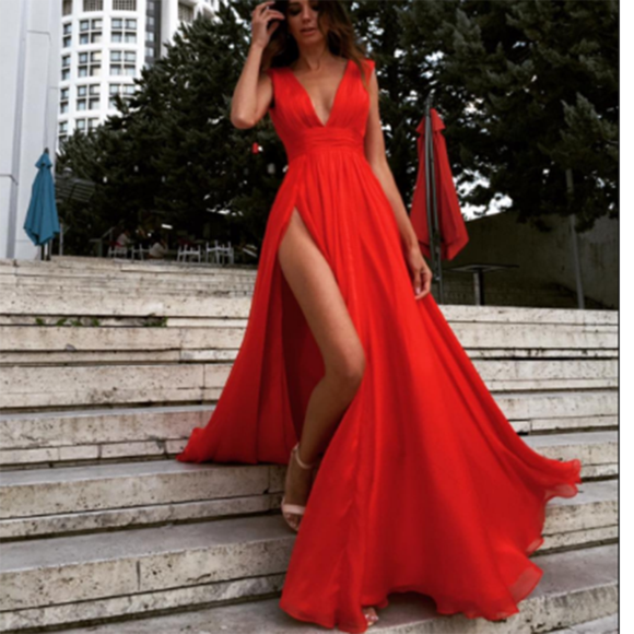 6594b9adca V Neck Red Maxi Dress Prom Dress with Slit by prom dresses on Zibbet