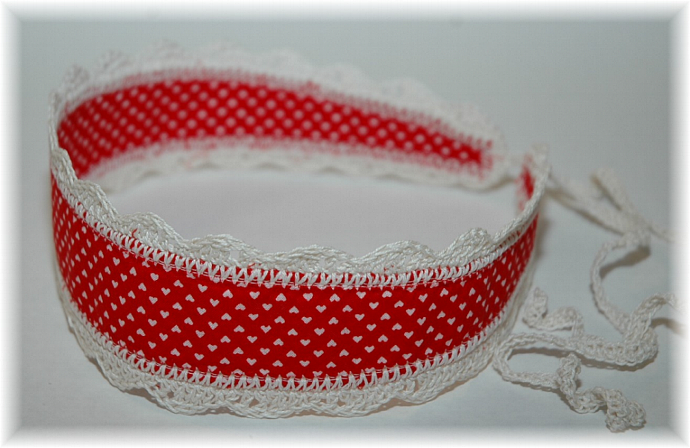 Red Hearts Headband with Ties