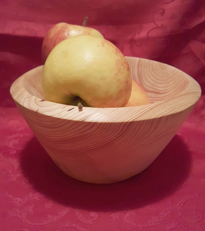 Pine (Pinus sylvestris) bowl - hand turned, wooden fruit bowl, natural bowl ,
