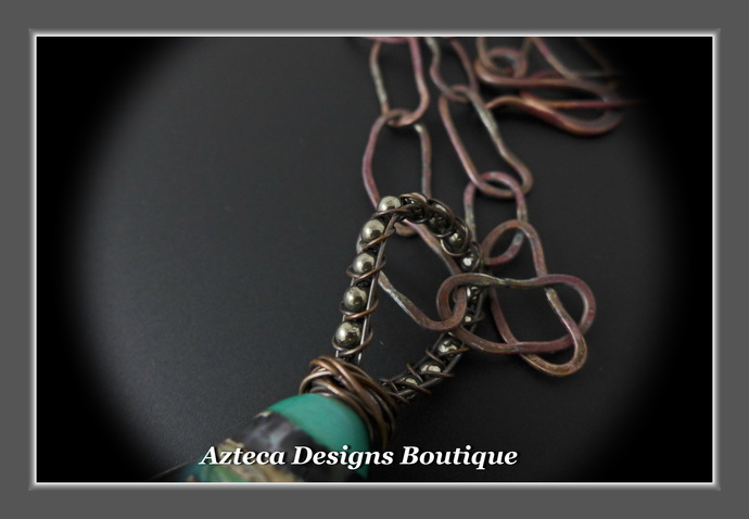 Fantasy~ Lampwork Spiral Copper Metalwork Hand Forged Necklace