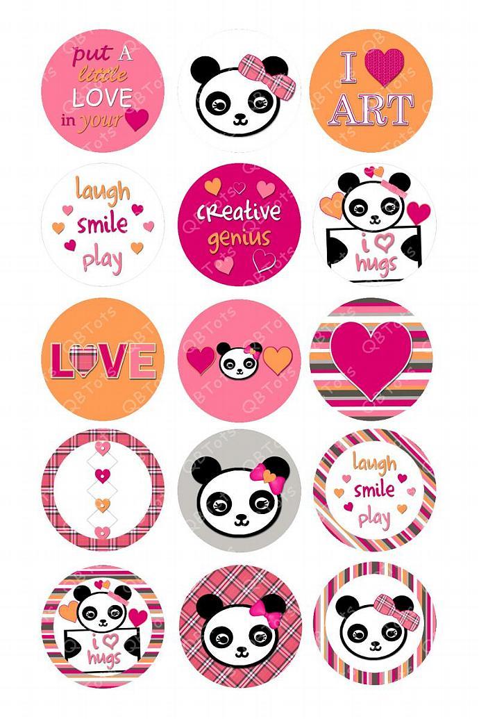 M2MG Panda Academy Digital Image Collage 1 inch Circles