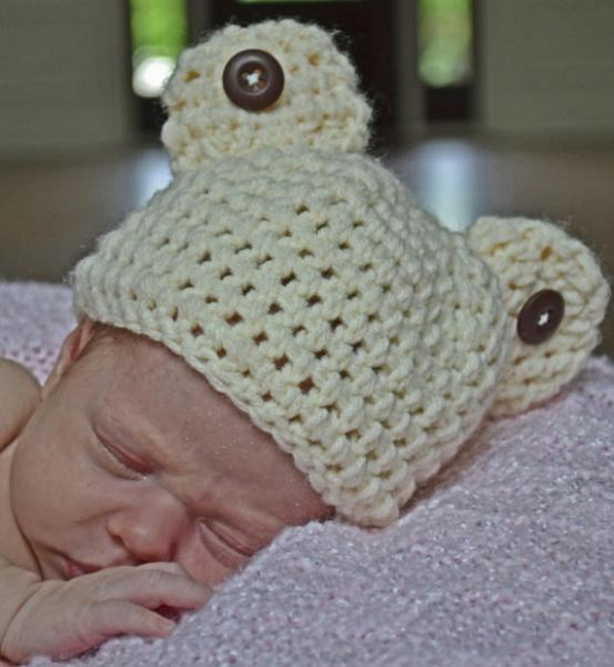 15379904ef2 Teddy bear crochet hat- Newborn