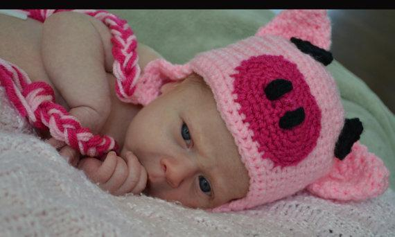 Crochet Pig Hat Newborn Infant And By Sweetbabiesinyarn On Zibbet