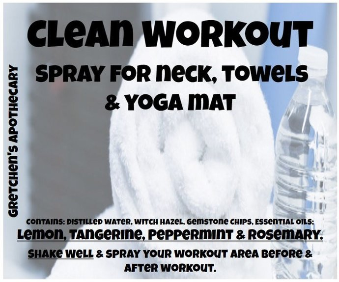 Clean Workout Spray for Neck, Towels & Yoga Mat clnw016 Lemon, Tangerine,