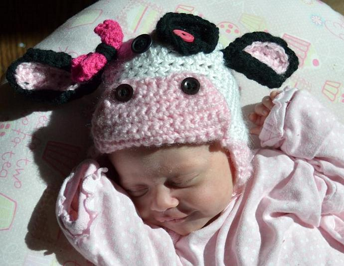163dc35c492cc Crochet cow hat - newborn