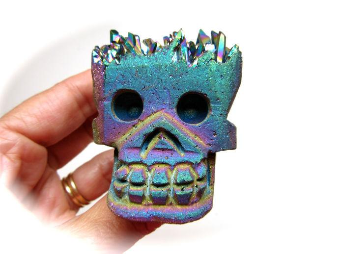 Rainbow Titanium Aura Quartz Cluster Crystal Skull 65mm 144g