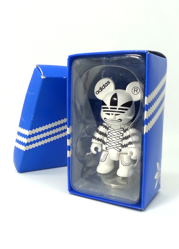 Adidas Originals X Toy2R Qee Adicolor (White/Black) Figure Keychain Key Ring -