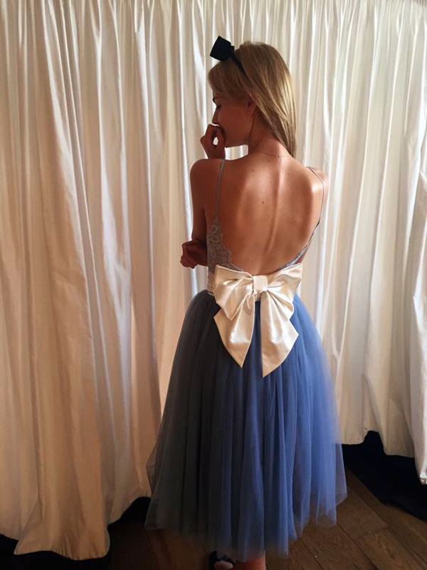 High Fashion A-Line Spaghetti Straps Backless Homecoming Dress With Bow,Lace