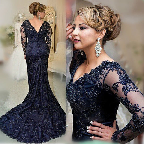 Mother Dress for Wedding,Navy Blue Long Sleeves Beads Appliques Mermaid Mother