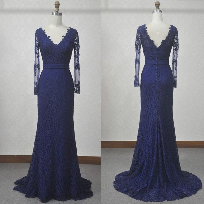 Cheap Prom Dresses, Evening Dress Prom Gowns, V-Neck Lace A-Line Prom