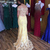 Charming Prom Dress,Lace Prom Dress,Off Shoulder Sleeves Evening Dress,Yellow