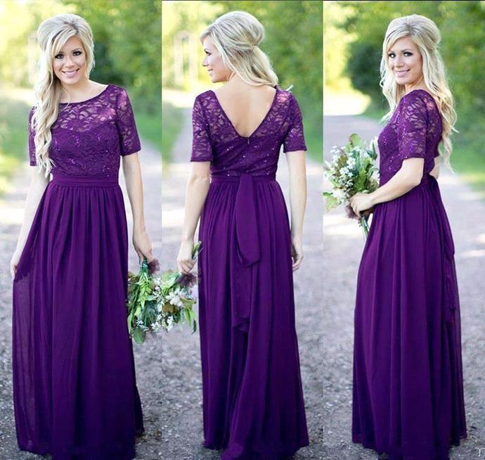 Bridesmaid Dress,Bridesmaid Gowns 2017,Short Sleeves Purple Long Bridesmaid