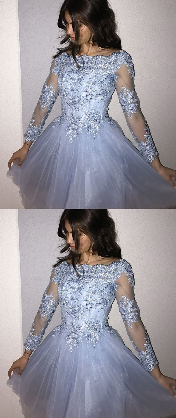 Blue Long Sleeves Homecoming Dress With By Dress Storm On Zibbet