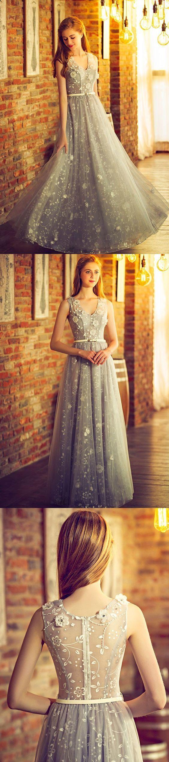 Sexy Prom Dresses A-line Floor-length V-neck Chic Prom Dress/Evening Dress