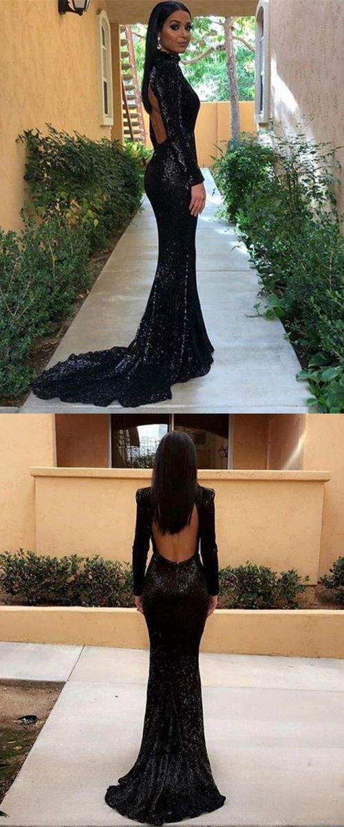 black sequined mermaid prom dresses, unique long sleeves sweep train party