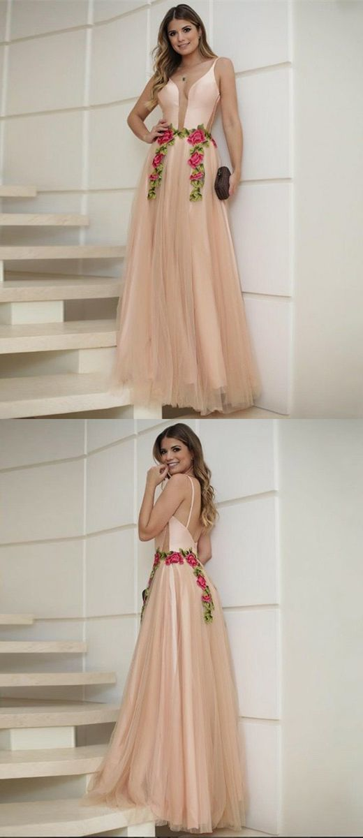 modest spaghetti straps pink long prom dresses, elegant tulle evening dresses