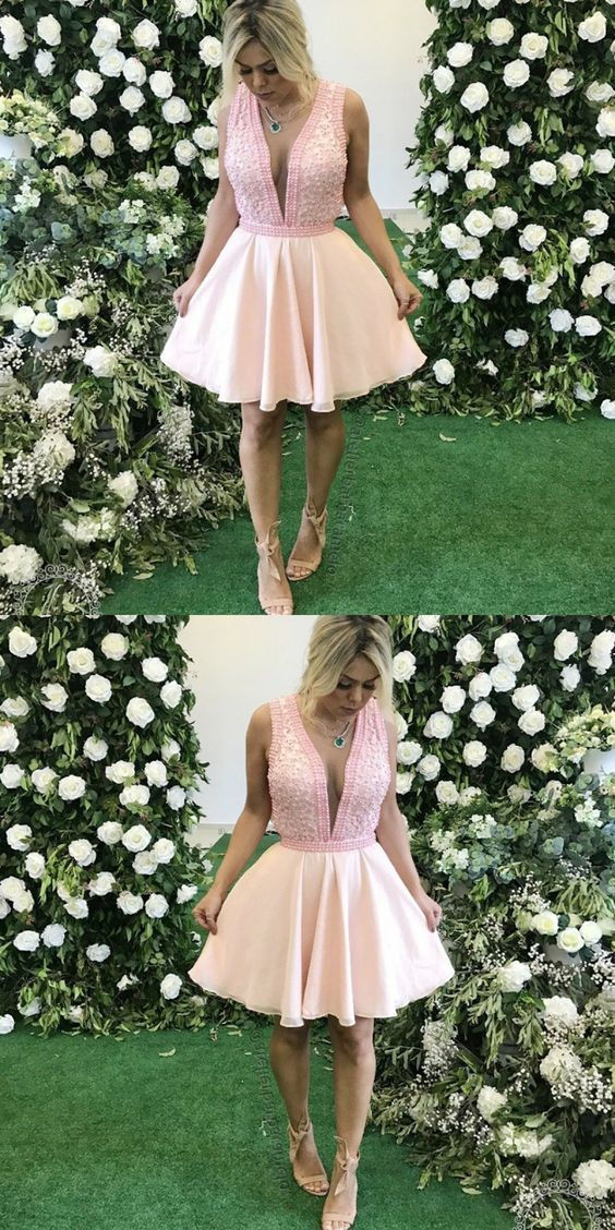 A-Line Deep V-Neck Pink Homecoming Prom Dress with Beading
