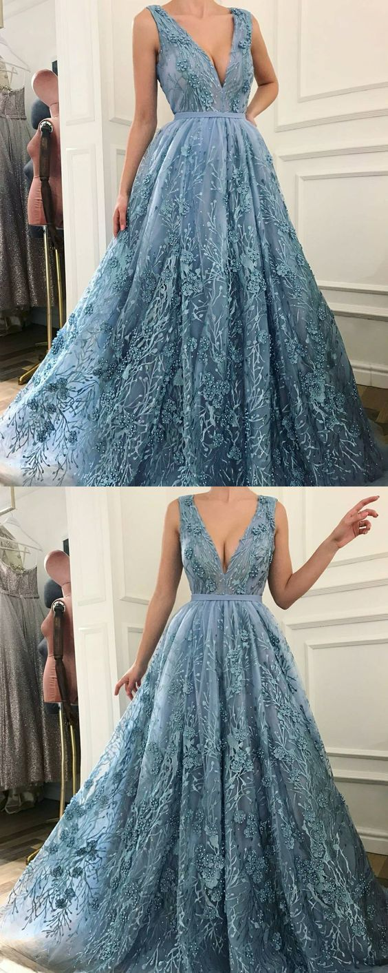 A-Line V-Neck Sweep Train Blue Prom Dress with Appliques Beading