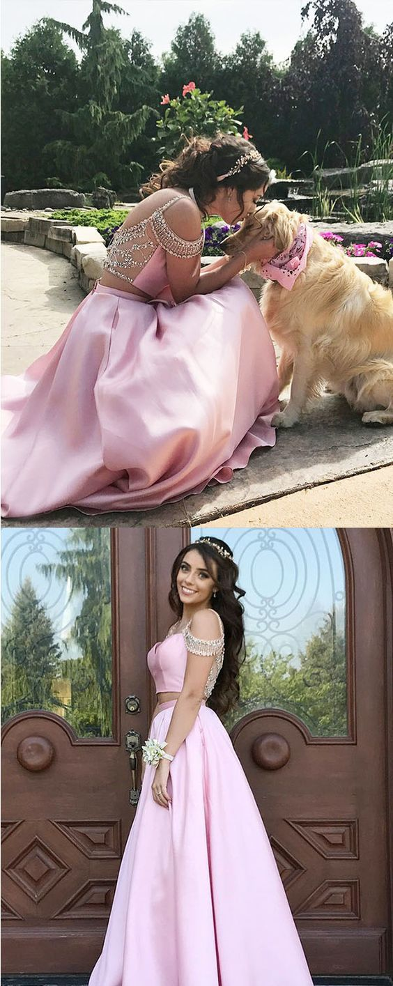 Two Piece Satin Prom Dress with Cold Shoulder, Long Satin Formal Dress with