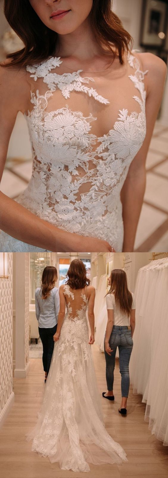 tight lace wedding dresses with court train, fashion wedding gowns