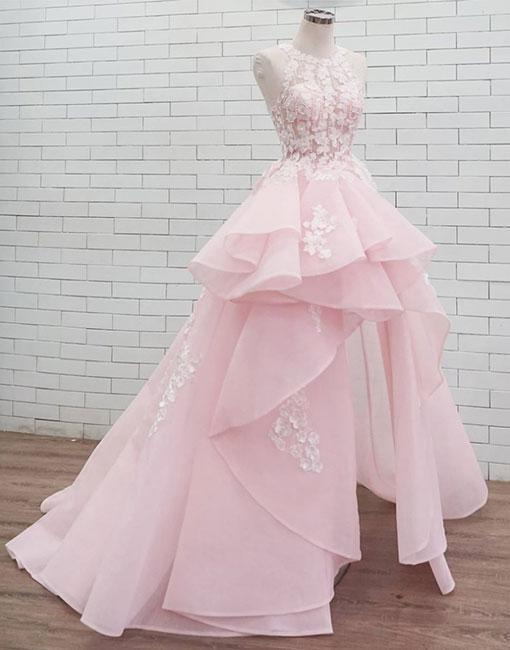 Pink round neck lace long prom dress, sweet party dresses
