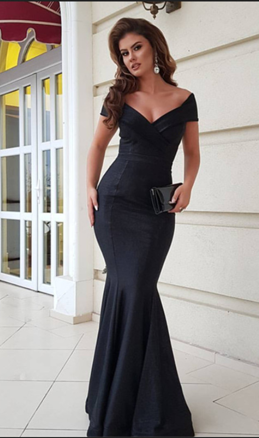 38a1e1405076 Black Satin Prom Dresses Mermaid Long V Neck Evening Dresses Off the  Shoulder