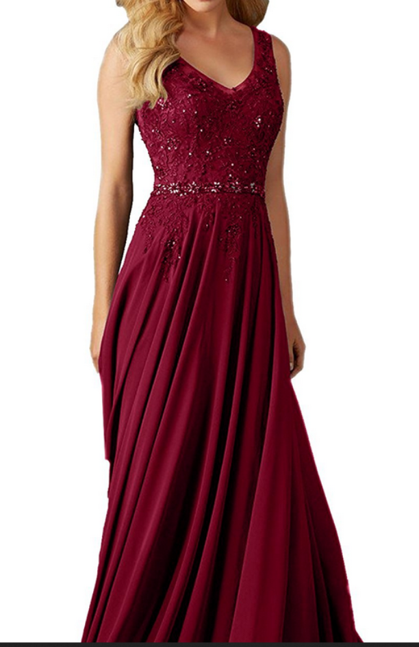 Burgundy Chiffon Lace A Line Prom Dresses V Neck Long By Lass On