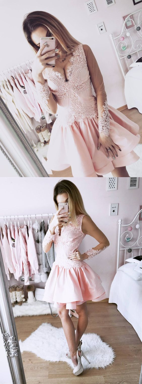 A-Line V-Neck Long Sleeves Short Pink Homecoming Dress with Lace,Cheap Prom