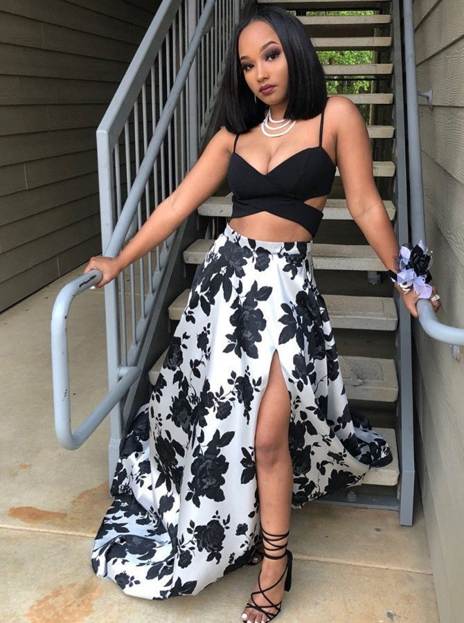 Two Piece Spaghetti Straps Floor-Length Black Printed Prom Dress with Split