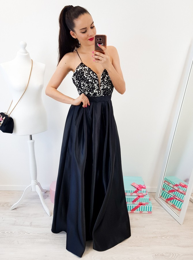 A Line Spaghetti Straps Backless Floor Length Black Dress
