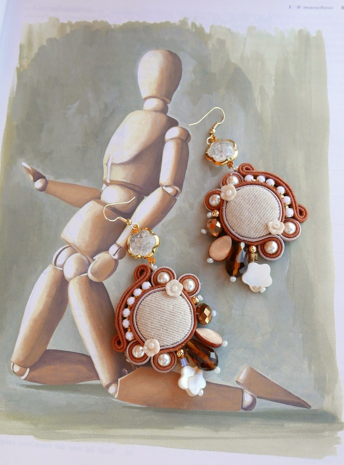 Beige earrings technical soutaches by KIMA velvet buttons OOAK Made in Italy