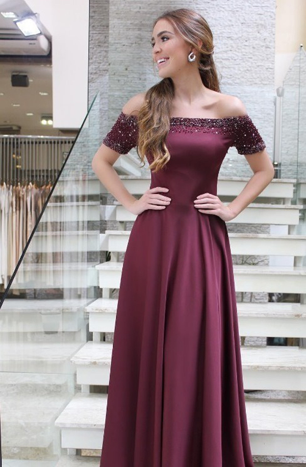 115b15b353c5 Burgundy Satin Prom Dresses Long A-line Short Sleeves Evening Dresses Sexy