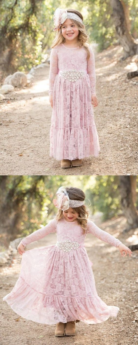 White Cream Pink Lace Flower Girls Dress For By Rosyprom On Zibbet