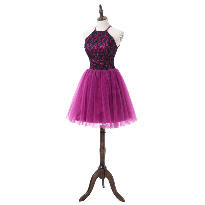 Elegant Prom Dress, Tulle Prom Dresses, Purple Homecoming Dress