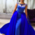 Royal Blue Tulle Satin Prom Dresses Long Mermaid Evening Dresses Cap Sleeves