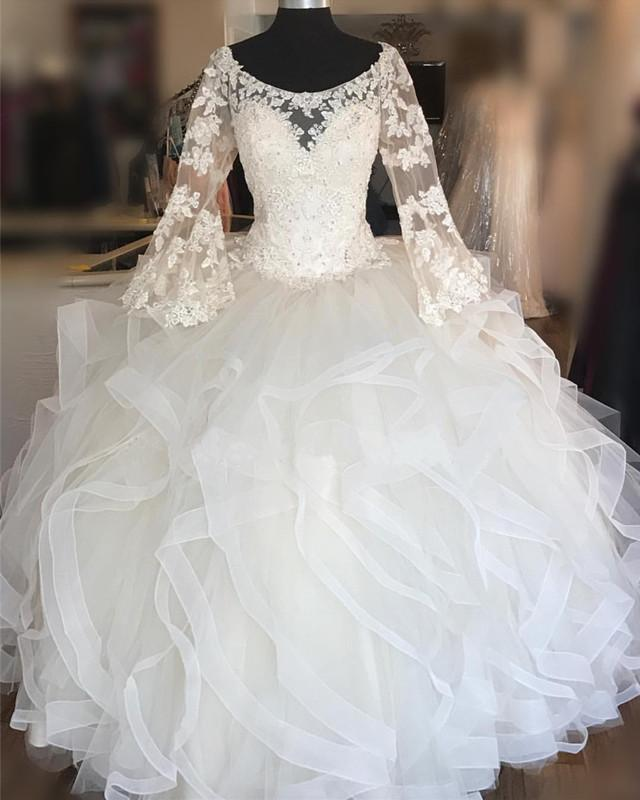 Tulle Lace Appliques Appliques Wedding Dress, Long Sleeve Ruffles Wedding