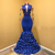 Royal Blue Mermaid Evening Dress, Appliques Formal Evening Dresses, Long Prom