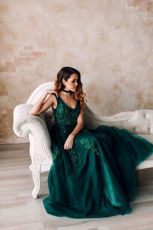 Elegant Dark Green Prom Dress, Tulle Prom Dresses,  Appliques Evening Dress
